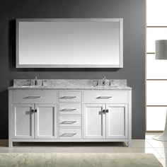Accanto Contemporary Inch White Finish Bathroom Vanity Marble - 63 inch double sink bathroom vanity for bathroom decor ideas
