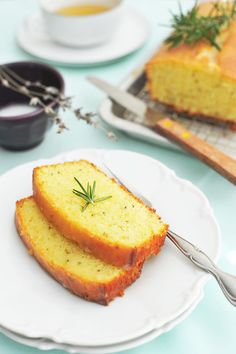 Rosemary Yogurt Cake with Lavender Glaze