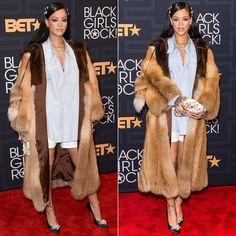 Rihanna at Black Girls Rock 2016 Miu Miu Fall 2016 fur coat and pumps, Dolce and Gabbana Miss Deam embellished clutch, Le Vian necklace, Bavna ring, Fallon Monarch hair pins, Jacquie Aiche custom cameo ring