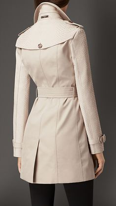 Stone Gabardine Trench Coat with Python Sleeves - Image 2