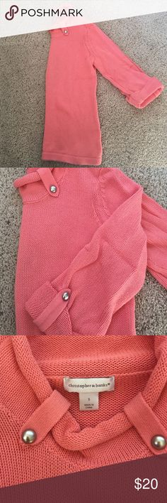 EUC Christopher & Banks sweater 3/4 sleeve with adorable button detailing. Great sweater in a heavier knit that is excellent for fall or spring! Color is more of a soft orange/peach like picture 2. Size S.  All reasonable offers considered- bundle to save even more! Christopher & Banks Tops