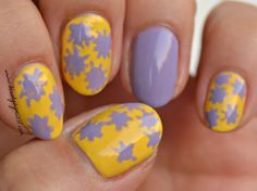 yellow and lavender nails