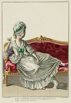 """A Most Beguiling Accomplishment: Galerie des Modes, 9e Cahier, 3e Figure (1778). Caption & long description translated by @Cassidy. """"Woman in morning Undress lying negligently on a Sofa, playing with her dog... Caraco à la Polonaise; it must be well-made to serve. It can be given a hood but though that hides the irregularities of the shoulders, it also loses the garment's lightness, which is its principal merit. The one in this Drawing is of sky-blue taffeta, negligently held in front of…"""