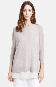 Fabiana Filippi Metallic Tunic Sweater with Crepe Tank available at #Nordstrom