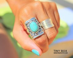 Big Bold Statement Ring  Stone  Ring  Turquoise Ring  by TinyBox12, $14.95