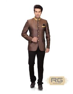 c007822f46f Shop for this amazing golden brown king style blazer jacket with shimmer  collar & gold buttons