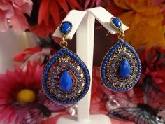 DROP OF BLU - Antique Gold Plated Filigree Earring Connector Blue Acrylic and Crystal Royal and Light Blue Stud DanglEarrings by ChrysalisCrystalGems on Etsy