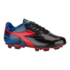Diadora Kids' Nebula FG Outdoor Soccer Cleats - Black/Blue/Red Kids Football Cleats, Soccer Cleats, Orion Nebula, Circle Design, Sports Equipment, Stability, Pitch, Sport Outfits, Canada