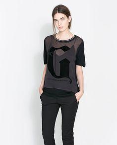 Flocked Letter Motif T-Shirt by Zara