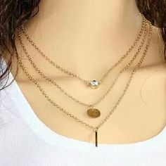 Delicate three layered necklace Gold tone chain keyword: boho, glam statement necklace Jewelry Necklaces