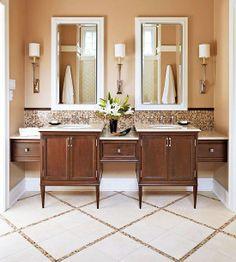 Chic Accents / elegant double sinks / vanities with drawers / backsplash / tile floor / vanity lighting / mirrors