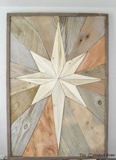 I am so excited to share with you this wood star mosaic. This is the perfect use of that scrap wood pile and the results are so beautiful.