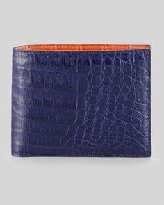 N236B Santiago Gonzalez Bicolor Crocodile Wallet, Navy/Orange