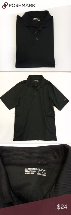 Nike Dri-Fit Golf Polo Nike Victory Dri-Fit Golf Polo in black  Polo collar  3 button placket  Short sleeves  Lightweight, dri-fit fabric   Care:  Materials:  Size: Medium   Measurements:  Excellent condition. Nike Shirts Polos