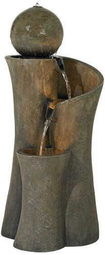 Outdoor Fountains - Modern Sphere Curve Cascading 39 12 High Fountain ** Want additional info? Click on the image. (This is an Amazon affiliate link)