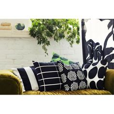 Marimekko Juhlaraita Black/White Heavyweight Large Throw Pillow - View All Sale Items Large Throw Pillows, White Pillows, Marimekko, Cushion Covers, Pillow Covers, Interior Decorating, Interior Design, Vintage Pillows, Fabric Covered