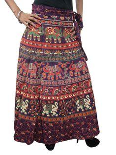 Indian Long Skirt Dark Purple Elephant Printed Cotton Wrap Dress India Clothing