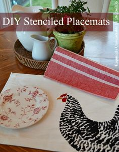 Stenciled Chicken Placemats. A quick and easy project using fabric paint and store bought placemats. I can't wait to try it!