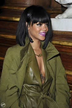 rihanna at balmain paris - wearing mac heroine lipstick with wing eyeliner and lashes