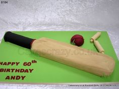 An ideal cake for any budding batsman, this shaped cricket bat cake washed in a willow wood effect complete with ball. A cake which will certainly have you all bowled over Cricket Theme Cake, Sports Themed Cakes, Willow Wood, Cricket Bat, 60th Birthday, Birthday Cakes, Amazing Cakes, Cake Ideas, Soccer Cakes
