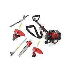Trueshopping 26cc Petrol Multi Tool Long Reach Multi Function Garden Tool Including: Hedge Trimmer, Strimmer, Brushcutter, Chainsaw Pruner & Free Extension Pole 2-Stroke 0.9kw / 1.2hp
