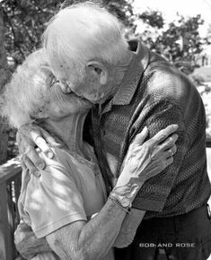 """I love when people see a hot young couple that's been together one month and they say """"BEST COUPLE EVER!"""" I see a couple like this that's been married for over 50 years and say, """"CUTEST COUPLE EVER!"""" True love is everlasting. Vieux Couples, Old Couples, All You Need Is Love, Love Is Sweet, My Love, Sweet Lord, Grow Old With Me, Growing Old Together, Forever Love"""
