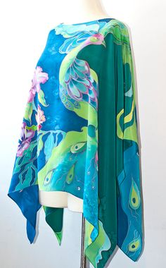 Silk Blouse Tunic Kimono Shirt Kaftan Hand Painted by aniutik