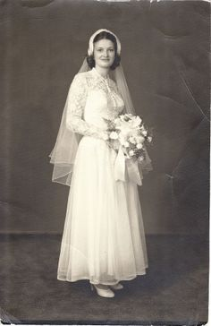 Grace Wedding 1951 This dress is VERY smilar to the dress my mother wore in July of 1952!!!