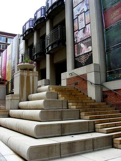 """Book stairs at """"The Community Bookshelf"""" (the Central Library Parking Garage) of the  Kansas City Public Library."""