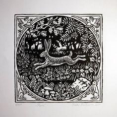 Rustic Artwork, Linoleum Block Printing, Linoprint, Rabbit Art, Bunny Art, Wood Engraving, Engraving Printing, Linocut Prints, Gravure