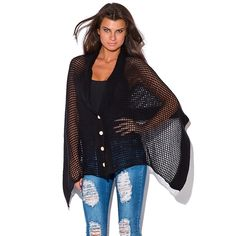 Selling this Button Down See Through Poncho in my Poshmark closet! My username is: raediamond. #shopmycloset #poshmark #fashion #shopping #style #forsale #Sweaters