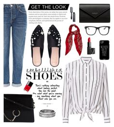 Get The Look: Embellished Shoe by glamorous09 on Polyvore featuring polyvore fashion style Equipment Topshop KG Kurt Geiger Chloé Balenciaga Chico's Yves Saint Laurent Casetify STELLA McCARTNEY NARS Cosmetics Bobbi Brown Cosmetics Chanel clothing embellishedshoe