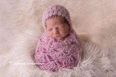Newborn wrap set - crochet baby girl bonnet and lace wrap - Beautiful newborn photo prop - multiple colors - very soft alpaca wool by Amaiahandmade on Etsy