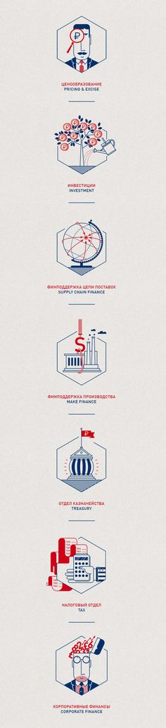 Financial Icons by Olja Ilyushchanka, via Behance (Two colors, very linear)