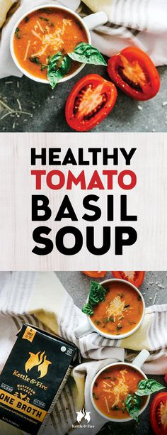 Nothing says home like a warm bowl of soup topped with cheddar cheese on a cold winter day. This tomato basil soup recipe harkens back to those days while also satisfying your adult taste buds and offering fresher healthier ingredients. Healthy Eating Recipes, Healthy Cooking, Healthy Meals, Delicious Meals, Healthy Food, Bone Broth Benefits, Bone Broth Soup, Cooking Tomatoes, Tomato Basil Soup