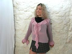 Pink sheer ruffle blouse gypsy blouse size L by frenchvintagedream