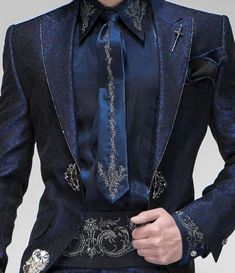 Blue lurex shirt with silver drako embroidered matching with cummerbund, tie and handkerchief. Mode Steampunk, Casual Mode, High Fashion, Mens Fashion, Wedding Suits, Costume Design, Mens Suits, Cute Outfits, Menswear