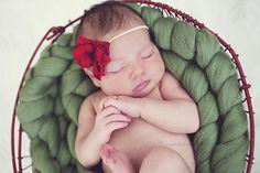 Holiday theme newborn shoot, girl