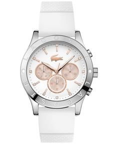 Rose-gold accents are the stylish finishing touch to this white watch from the Charlotte collection by Lacoste. | White silicone strap | Round stainless steel case, 40mm | White multifunction dial wit