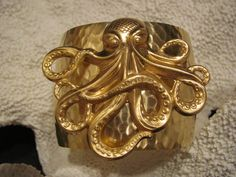Cuff Bracelet: Large Octopus Cuff Bracelet in Gold on Gold Tones - Beach Jewelry - Nautical  $35.00