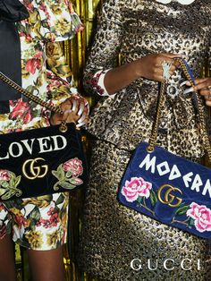 Crafted from soft matelassé leather, new GG Marmont bags with floral embroideries and the words 'Modern' and 'Loved' from Gucci Pre-Fall 2017.