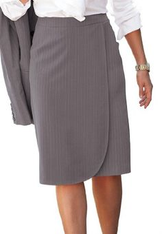 Jessica London Plus Size Skirt Suit with Wrap Front $34.99