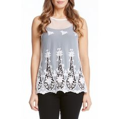 Karen Kane Embroidered Mesh Tank (3,900 MKD) ❤ liked on Polyvore featuring tops, off white, base layer top, sleeveless tops, crew neck tank top, sleeveless tank tops and embroidered top