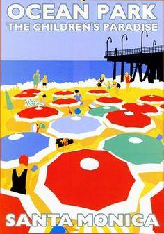 Ocean Park • Santa Monica, CA beach travel poster  #umbrellas