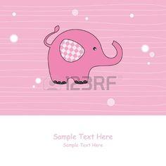 Baby meisje aankomst aankondiging Roze olifant Stockfoto