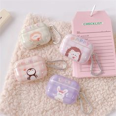 For AirPods Color: Green Nice Lion, Pink Happy Hedgehog, Pink Cute Penguin, Purple Lucky Rabbit. Happy Hedgehog, Lucky Rabbit, Earphone Case, Best Luxury Cars, Cute Penguins, Airpod Case, Makeup Art, In Ear Headphones, Cartoon