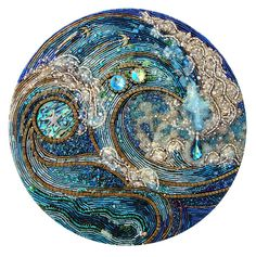 Quite Clearly Ocean by With All My Heart Art, via Flickr  hmmm... bead art or mosaic? beautiful