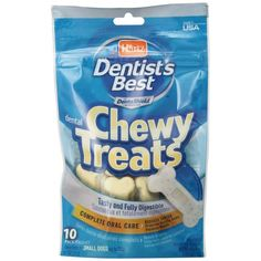 Small Hartz Dentist's Best Dental Chewy Bone Treats for dogs reduces tartar, promotes healthy gums, and freshens breath. Specially designed for small dogs (less than 20lbs.) that tend to be more susceptible to dental issues. Tasty and fully digestible