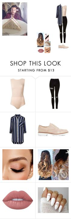"""""""Airplane food with Liam ♥"""" by camillette41 ❤ liked on Polyvore featuring Payne, Maison Margiela, Topshop, Dune Black, Avon, Lime Crime and Casetify"""