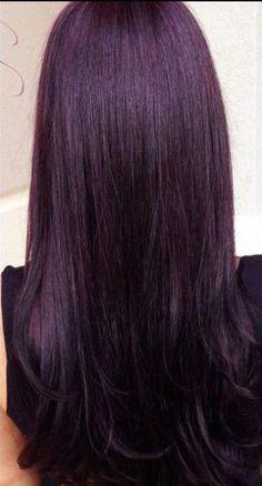40 ideas nails dark burgundy plum hair for 2019 Hair Color Highlights, Hair Color Dark, Ombre Hair Color, Cool Hair Color, Dark Hair, Dark Violet Hair, Burgundy Colour, Peekaboo Highlights, Burgundy Plum Hair
